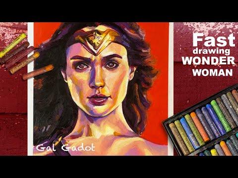Oil pastel fast drawing #12- How to draw Wonder Woman (Gal Gadot) impressionism   # 39-2021