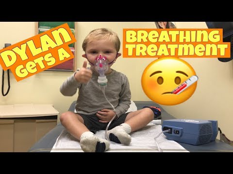 TODDLER GETS A NEBULIZER BREATHING TREATMENT AT THE DOCTOR'S OFFICE, SICK KID, FEVER & COUGHING :(