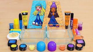 Blue & Yellow vs Purple & Orange - Mixing Makeup Eyeshadow Into Slime ASMR