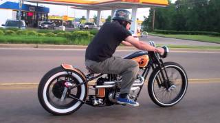 """Angry Monkey"" Riding Through Traffic. 1956 Triumph TR6 Kustom Bobber. built by Dan Patterson."