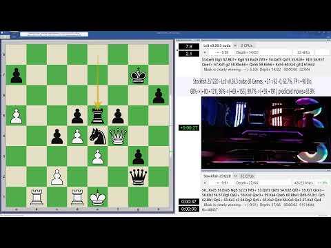 Live Chess Match Stockfish 251220 vs Lc0 0.26.3 (66849) (3m+2s) (32 Threads)