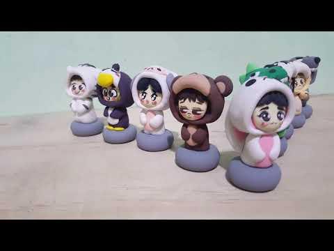EXO animal onesie clay figurines: OT9