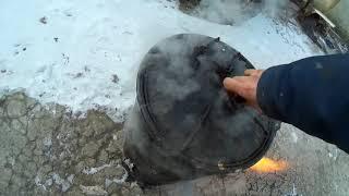 Работа дровяного газогенератора из бочки карбида калия