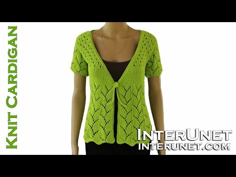 How to knit women's short-sleeve tie-front cardigan sweater