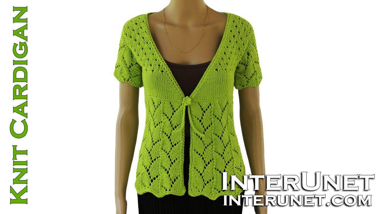a50b9b2e564f How to knit women s short-sleeve tie-front cardigan sweater - YouTube
