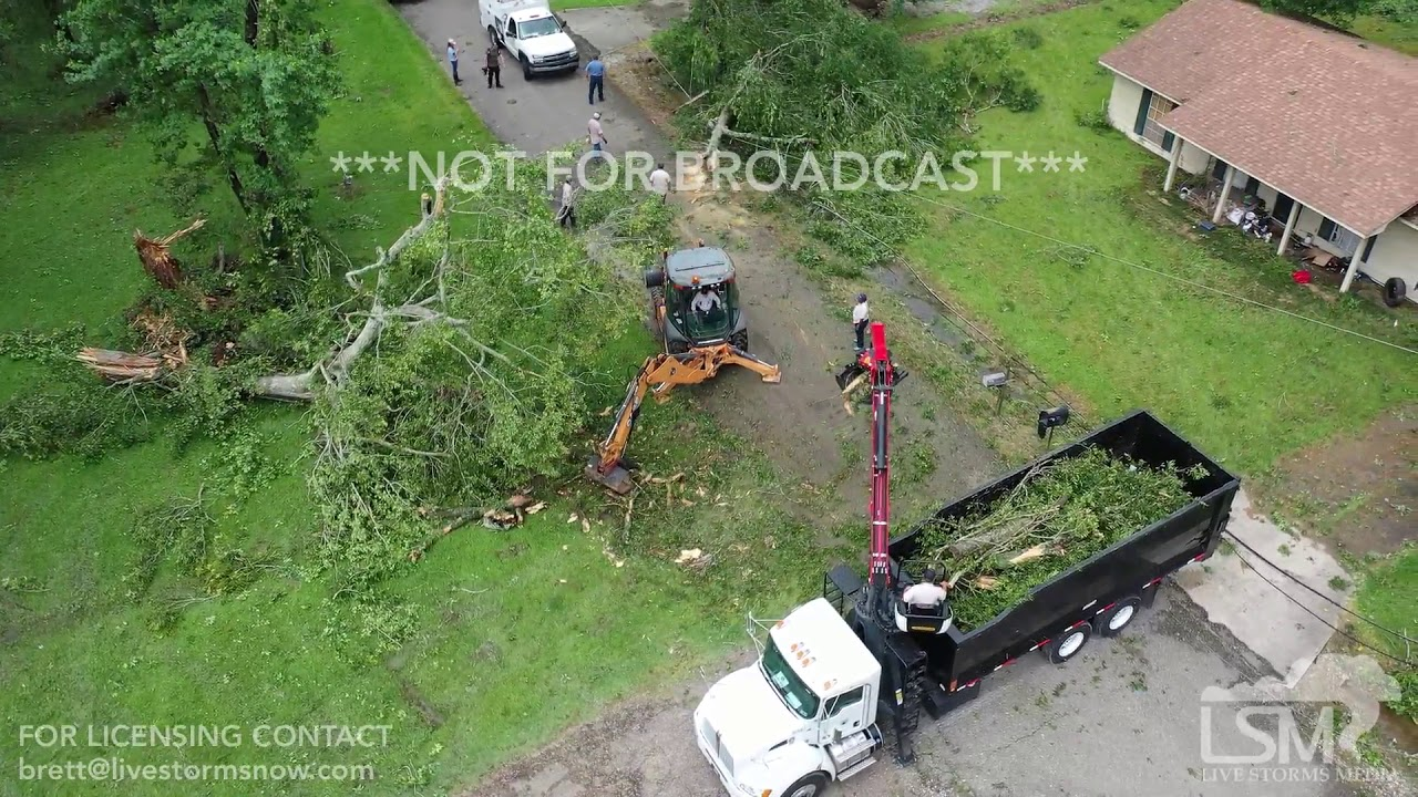 6-6-2019 Prairieville, La Tornado damage, home crushed by tree trapping people drone