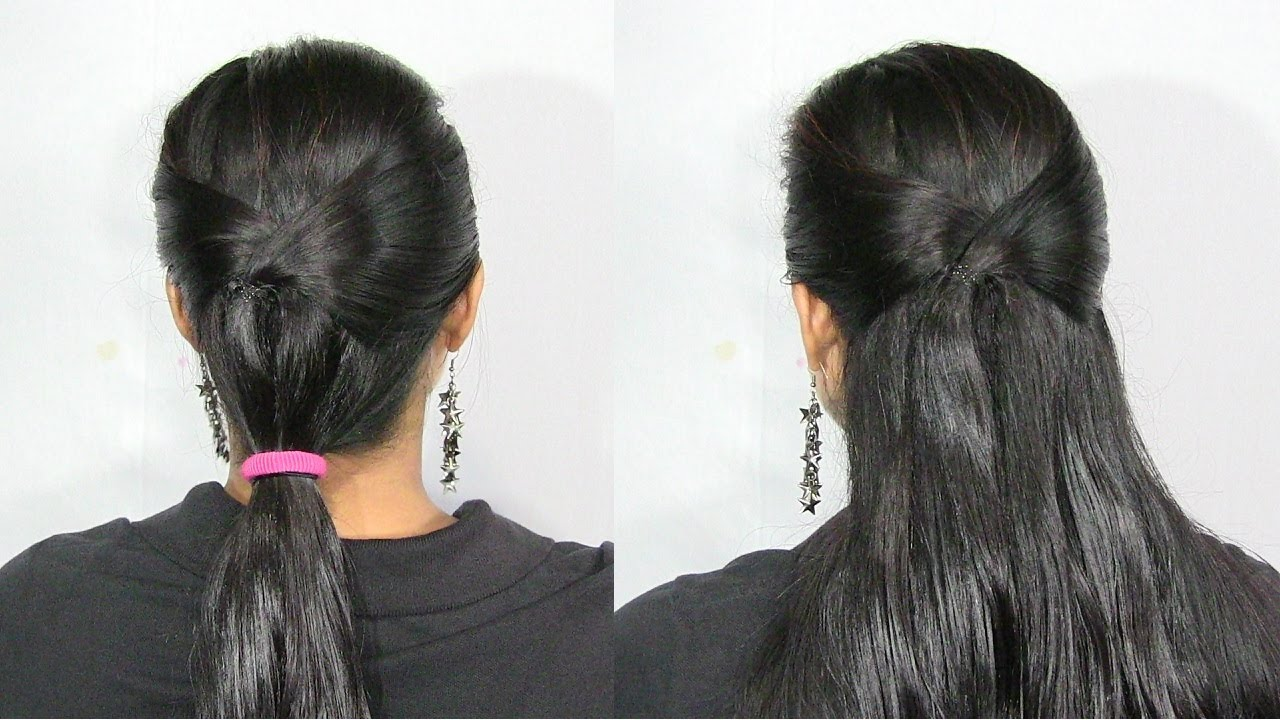 Simple and Cute Low Ponytail Hairstyle - YouTube
