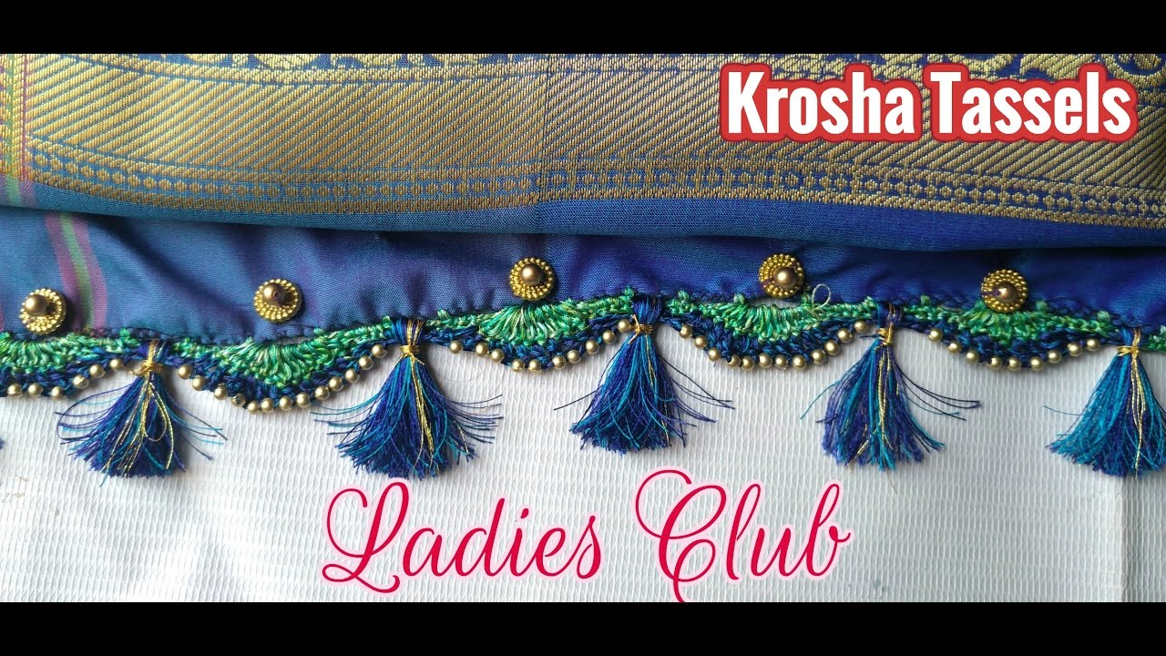 Download Krosha Tassels I How to do Krosha / Crochet Saree Tassels using Silk Thread and Beads design - 1