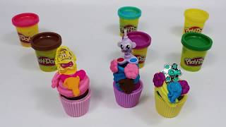 Flower Topping Cupcake PlayDoh and Kinder Joy Toy
