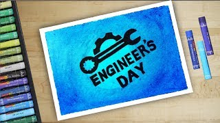 Happy Engineer's Day drawing using Oil Pastels- Step by Step