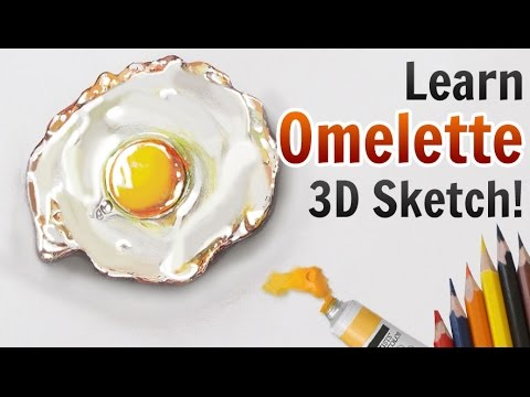 3d pencil drawings learn amazing 3d omelette sketch tutorial in few easy steps youtube
