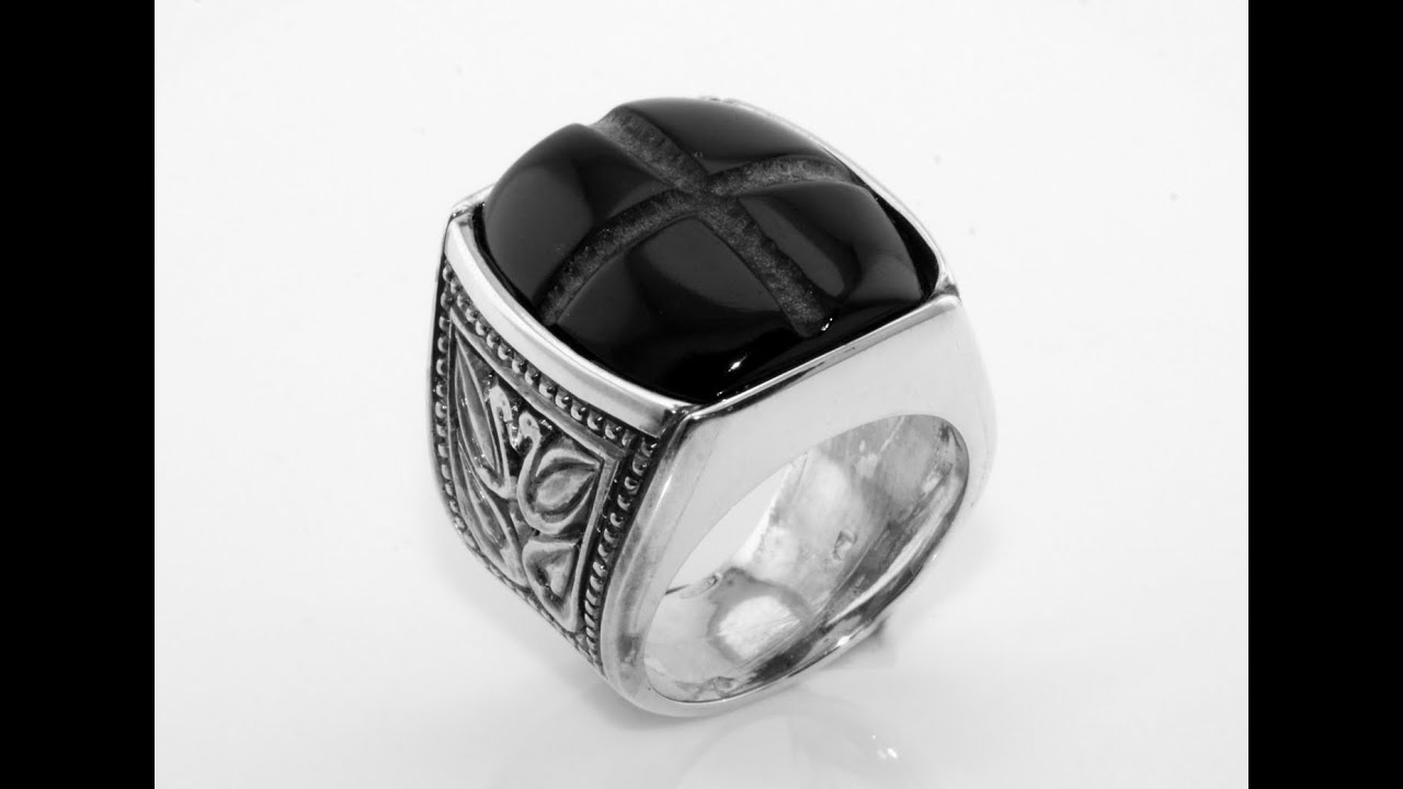 Silver ring for Men with onyx stone Handmade - YouTube