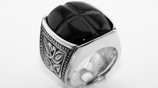 Silver ring for Men with onyx stone Handmade