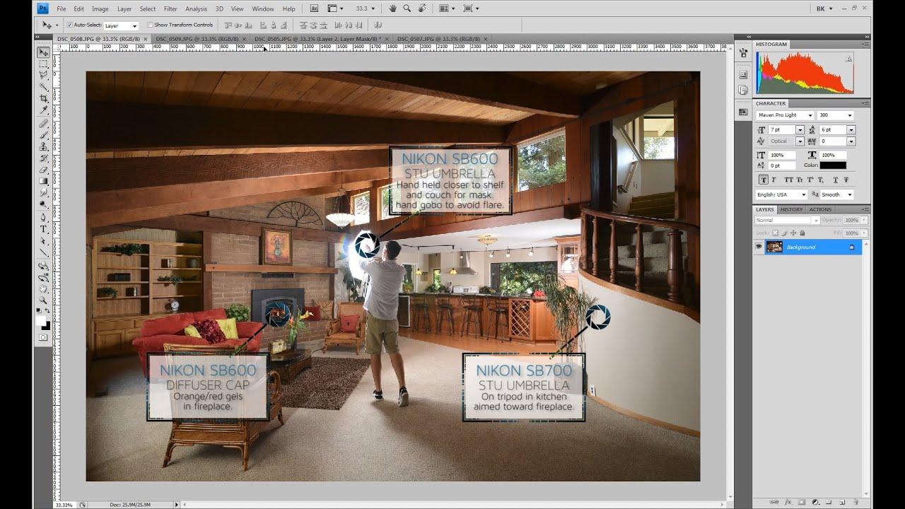 Exposure Blending In A Living Room Kitchen With Dark Wood Ceilings
