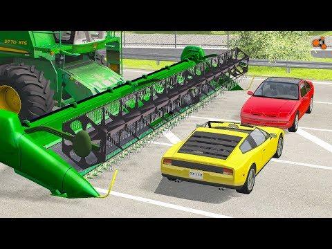 Beamng drive - Combine Сrushes Сars, Crashes (Combine harvester сrashes )