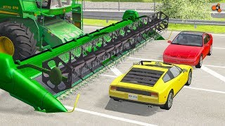 Beamng drive - Combine Сrushes Сars, Crashes (Combine harvester сrashes )