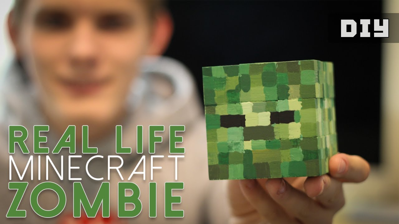 How to Make a Real Life Minecraft ZOMBIE Head (DIY) - YouTube