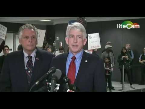 Terry McAuliffe, Mark Herring Statements at Dulles Airport (1/28/17)