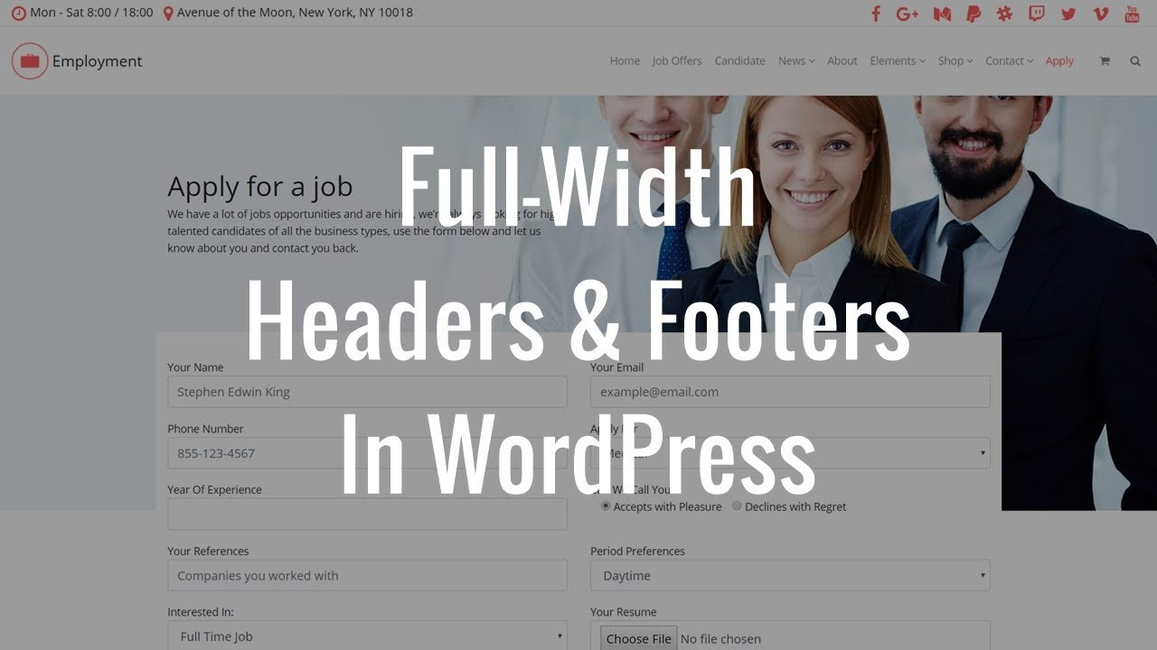 How To Make Full-Width Header or Footer Sections In WordPress?