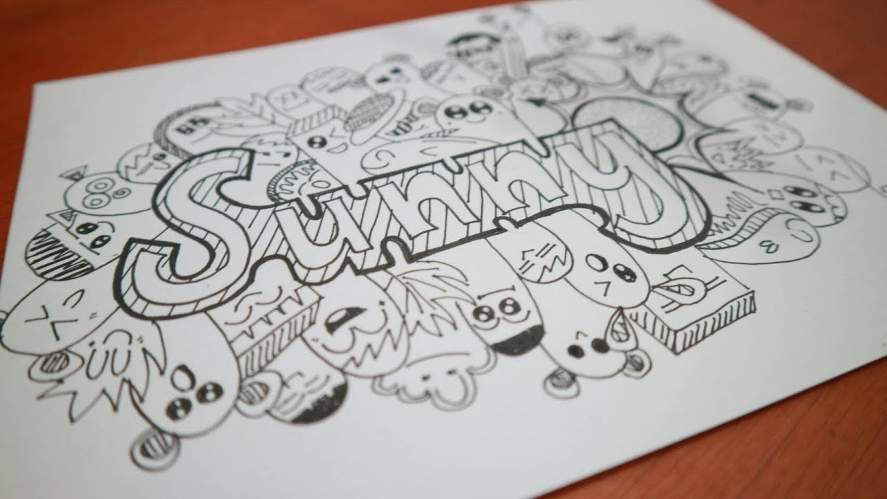 Doodle Art Name Tutorial Cara Membuat Doodle Nama Youtube