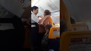 Drunk Irish woman on Ryanair flight from Spain.  1/10/18