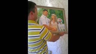 Подарок на годовщину свадьбы мужу. Картина из свадебных фотографий.