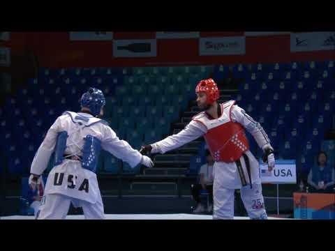 Taekwondo Qualification Tournament  Wuxi 2018 Guilherme Cezario Felix(BRA) vs Stephen Lambidin (USA)