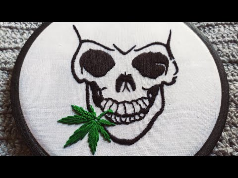 Cool Skull 💀 With Cannabis Leaf Embroidery  || Embroidery For Beginners || Modern Embroidery