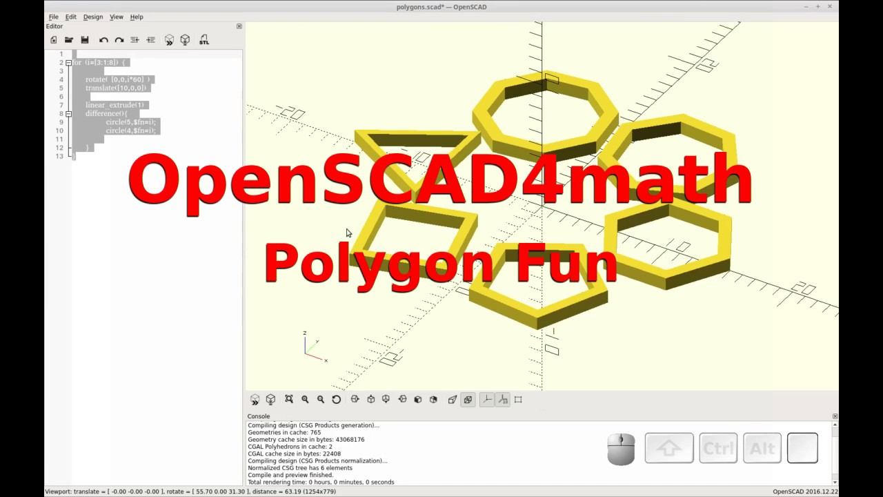 OpenSCAD - Math / Code / Print - Polygons