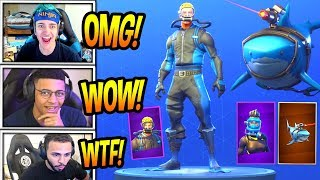 STREAMERS REACT TO *NEW* LASER CHOMP GLIDER + WRECK RAIDER & REEF RANGER SKINS! Fortnite Moments