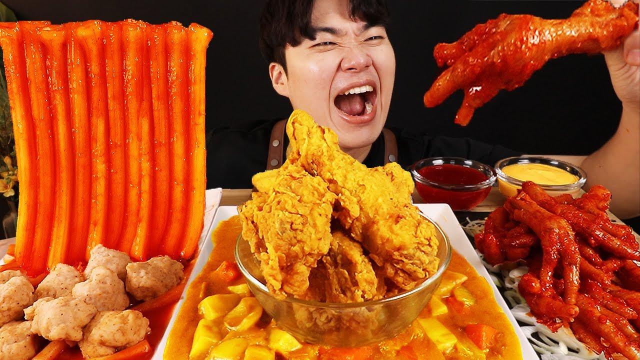 ASMR MUKBANG 떡볶이 & 치즈 스틱 & 카레 치킨먹방! FIRE Noodle & FRIED CHICKEN & CHEESE STICK EATING SOUND!