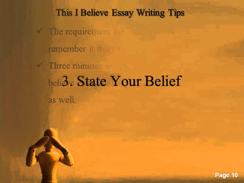 "for this i believe essays ""this i believe"" assignment: essay think about something that you truly believe with all of your heart this could be anything that you have learned through your experiences, growth or struggles about life, yourself, or."