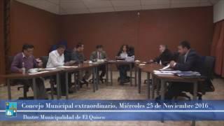 Concejo Municipal extraordinario, Miércoles 25 de Noviembre 2015
