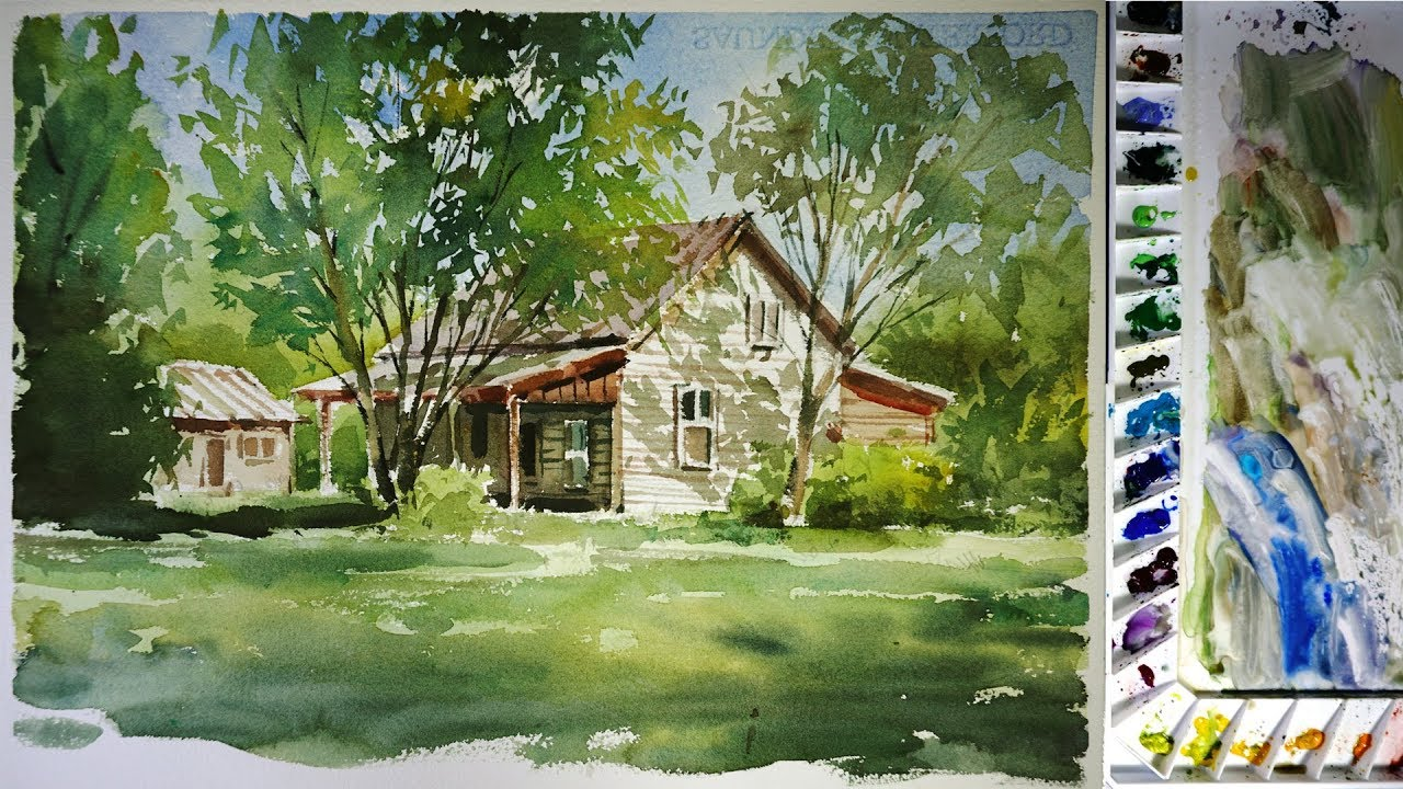 Watercolor Landscape Painting Sunlight Garden Youtube