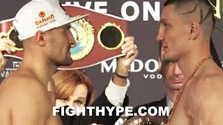SERGEY KOVALEV STONE-FACED STAREDOWN WITH VYACHESLAV SHABRANSKYY AT OFFICIAL WEIGH-IN