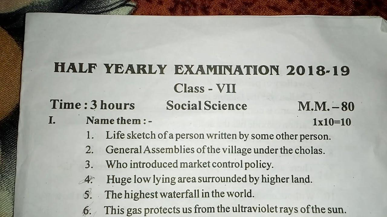 Class 7 social science mid term paper /2018-2019/cbse
