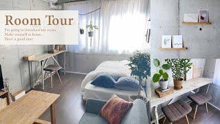 【ルームツアー】収納◎1K8畳の大人な一人暮らし女子部屋・観葉植物とナチュラルインテリア・100均・コンクリート打ちっぱなし|japanese room tour