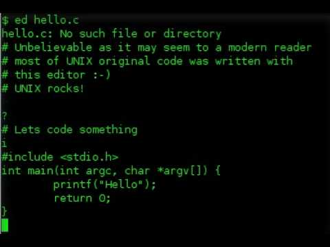 """Hello World"" with ed  editor"
