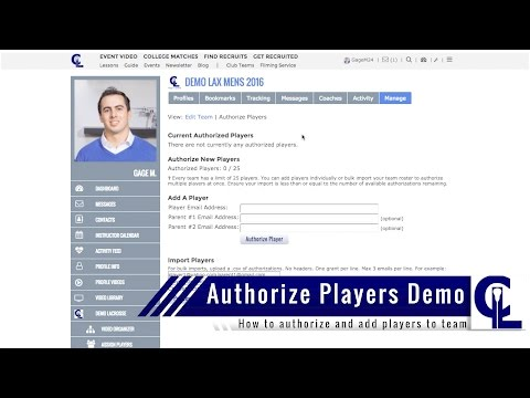 ConnectLAX Authorize Players Demo