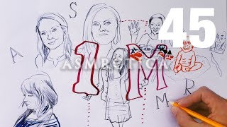 ASMR Drawing | Top 6 Most Subscribed YT ASMRtists portrayed | Congrats Gibi on 1M