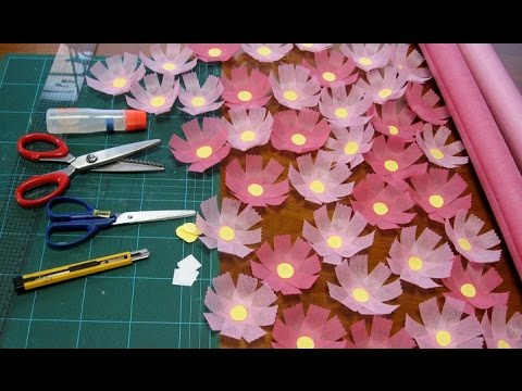 kimie gangiの 秋の壁面掲示②不織布で作るコスモス How to make the cosmos of flower