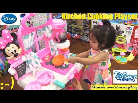 Disney Minnie Mouse Kitchen Cooking Playset. PINK Minnie Mouse Toys For Toddlers And Kids