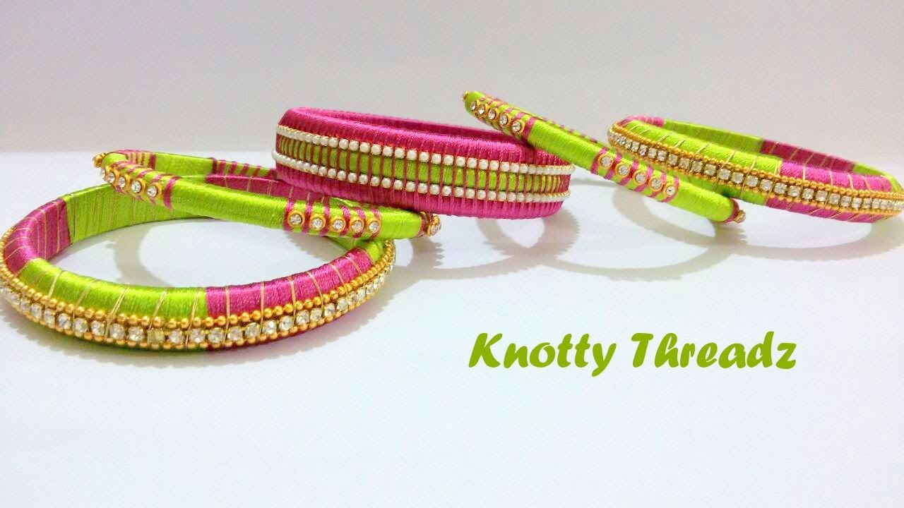 How To Make A Designer Silk Thread Bangles Set At Home Tutorial Youtube