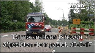 Rembrandtlaan Bilthoven afgesloten door gaslek 30-06-17 ROADTV.NL