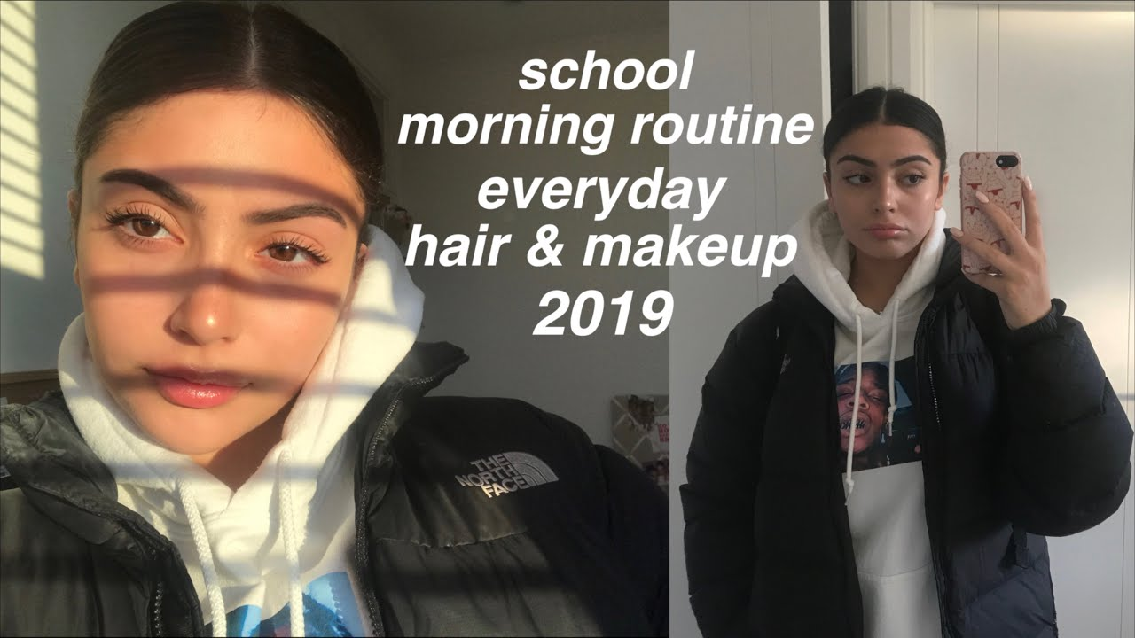 everyday makeup + hair | school morning routine 2019