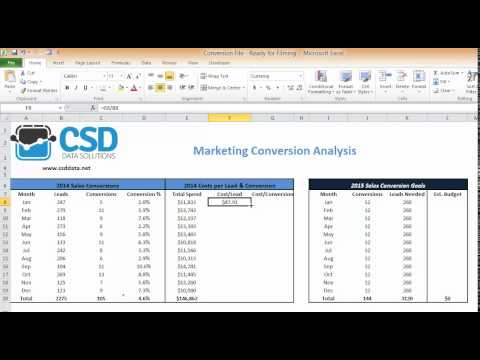 Calculate Cost per Lead & Conversion in Excel