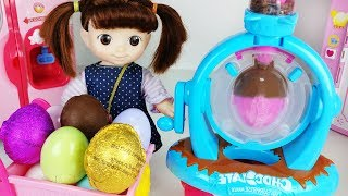 Baby doll Chocolate eggs and food cooking toys kitchen play - ToyMong TV 토이몽