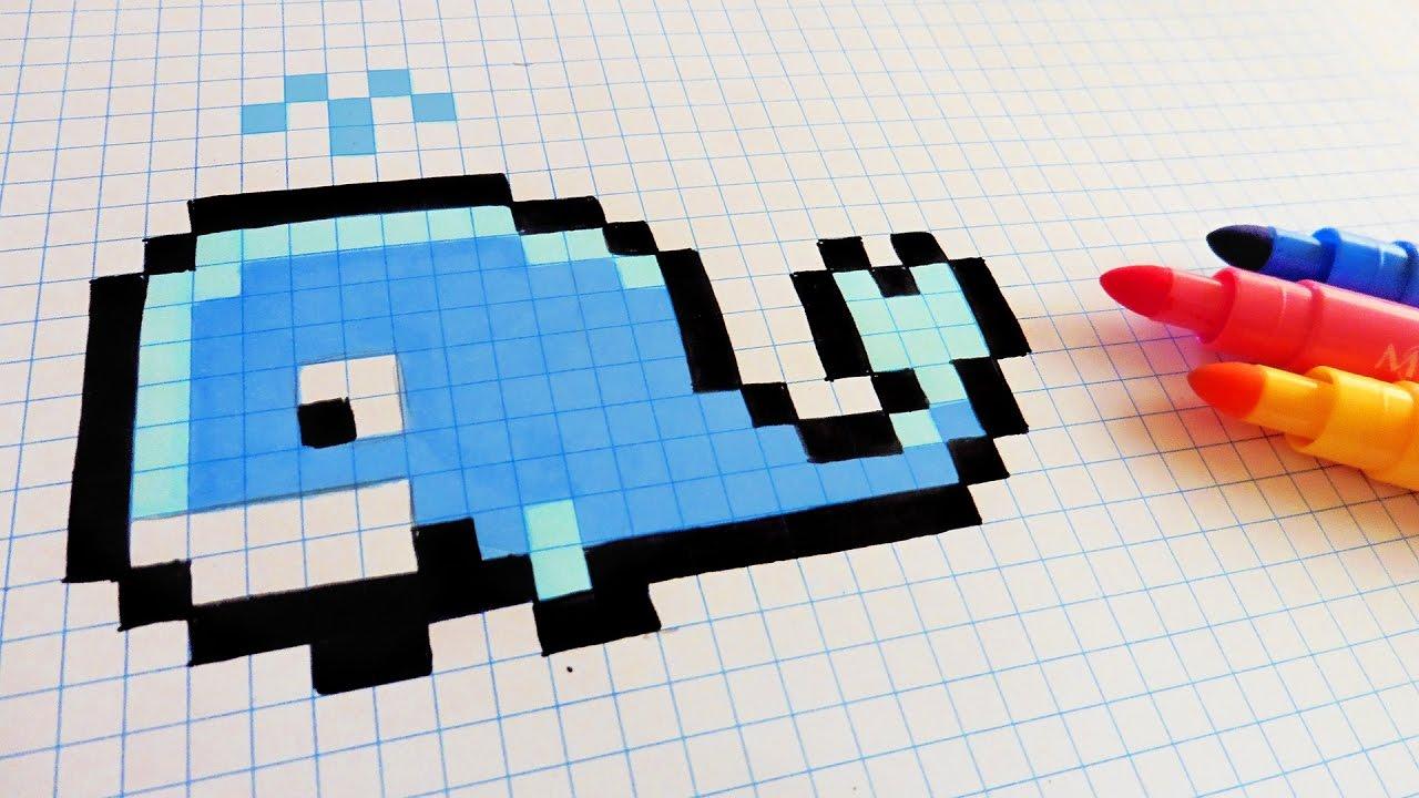 Handmade Pixel Art - How To Draw a Whale #pixelart - YouTube - Pixel Art Papillon