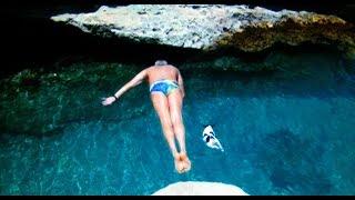 Man & Dog Synchronized Malta Cliff Jump