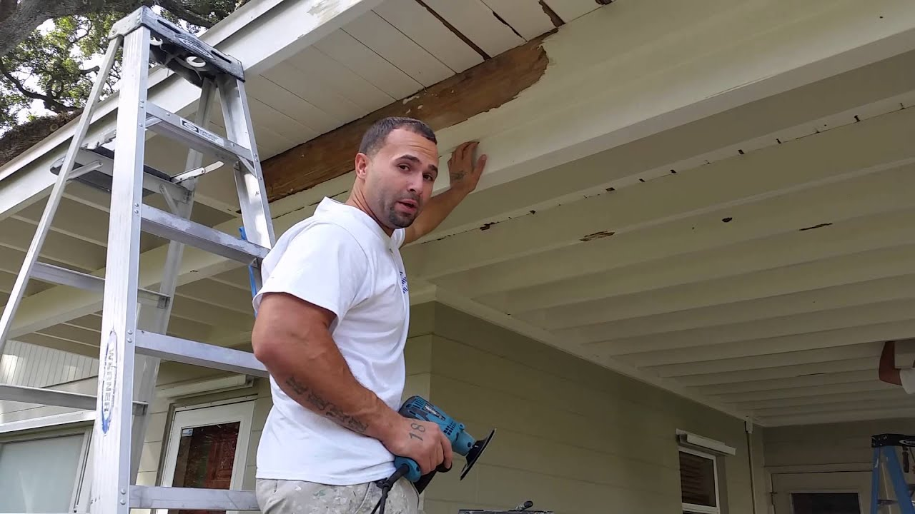 Power Sanding Old Wood Trim Before Painting Orlando